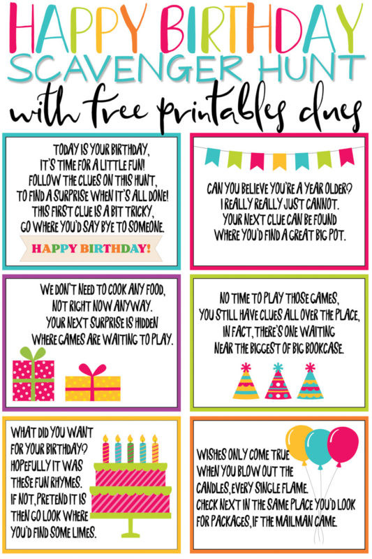 Scavenger Hunt Birthday Party Ideas  A Super Fun Birthday Scavenger Hunt Free Printable