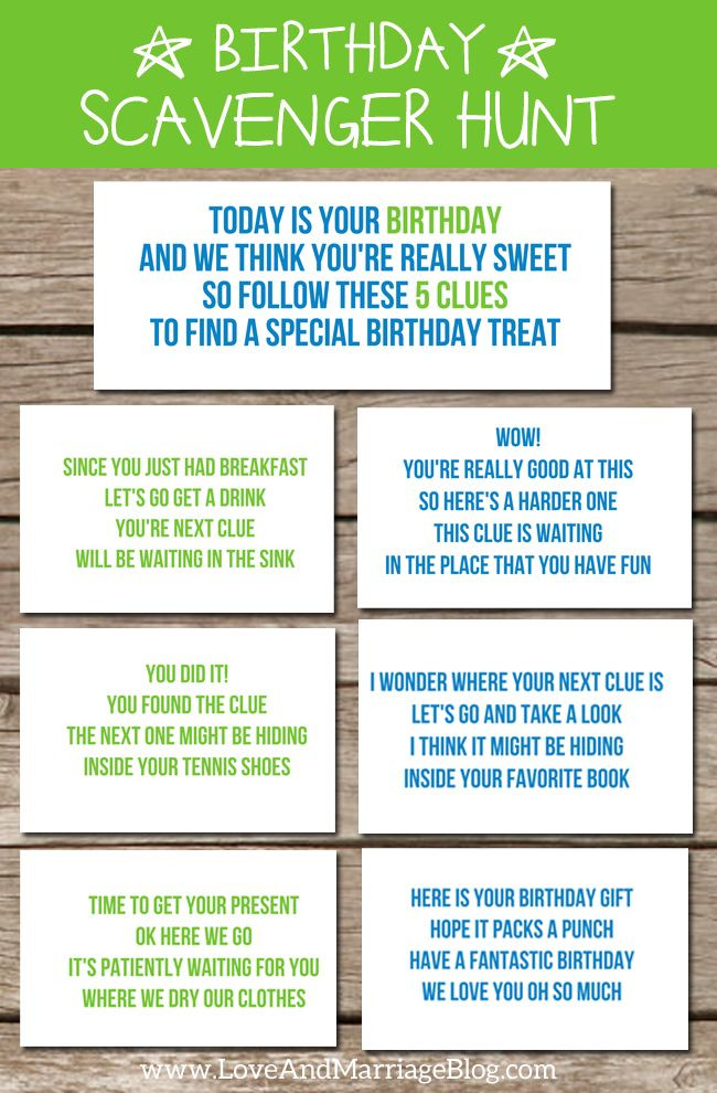 Scavenger Hunt Birthday Party Ideas  Birthday Scavenger Hunt with free printables