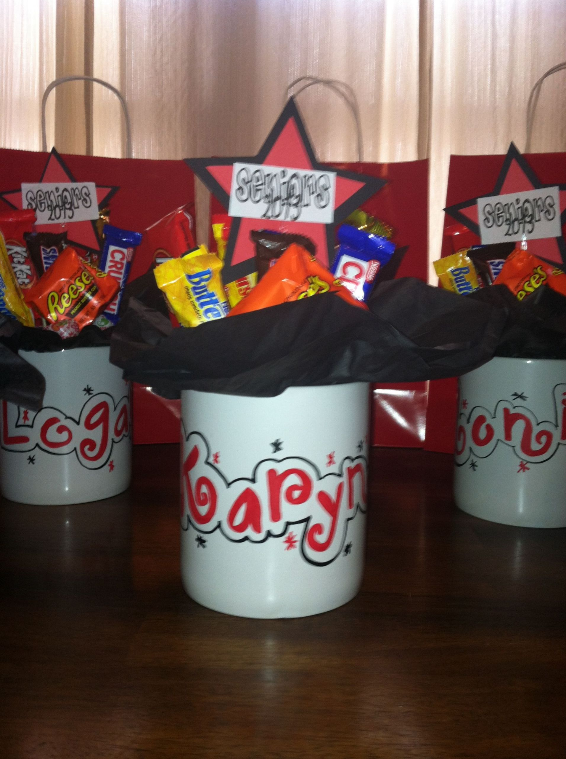Senior Graduation Gift Ideas  Personalized candy bouquet mugs for high school senior