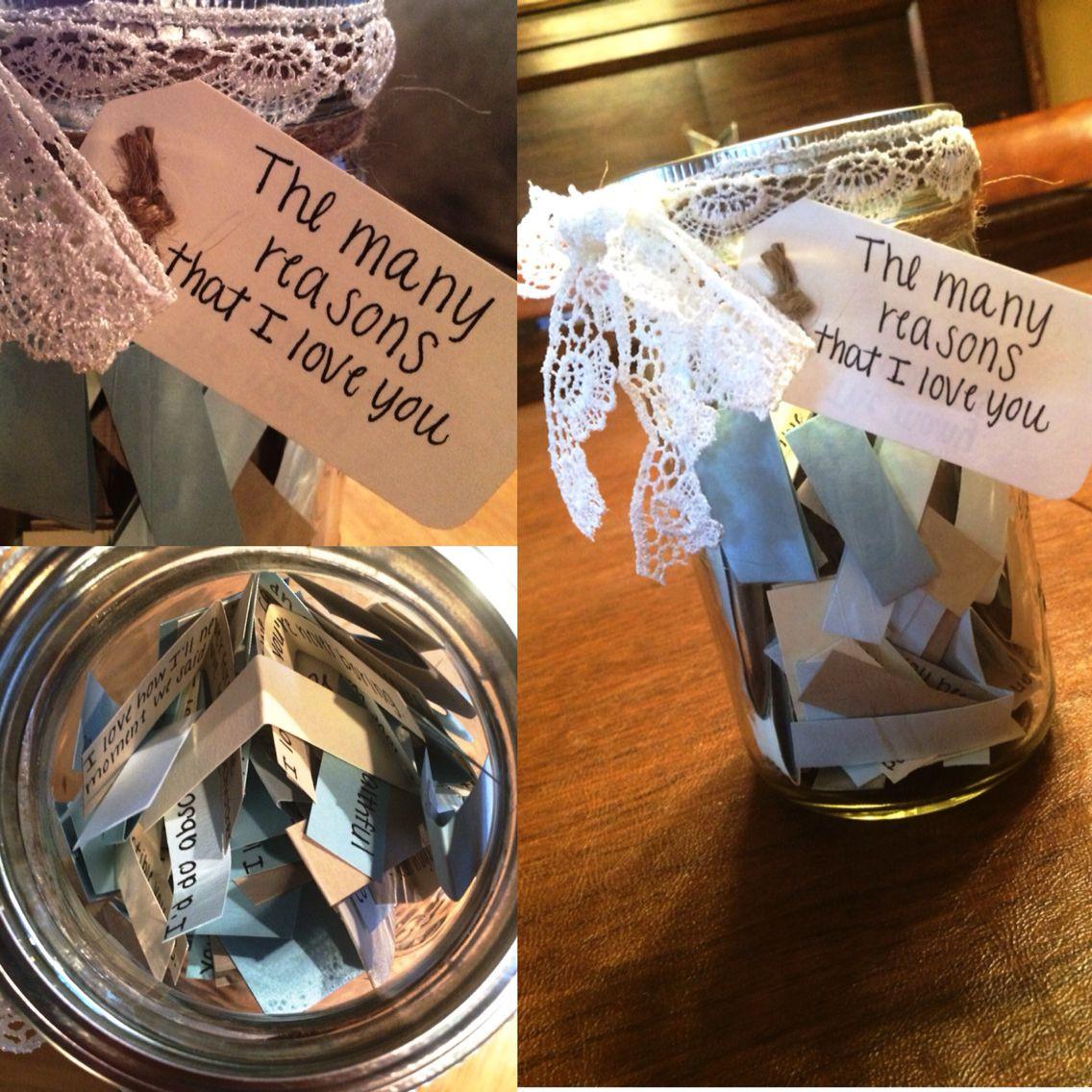 Sentimental Gift Ideas For Boyfriend  DIY reasons why I love you t for boyfriend or