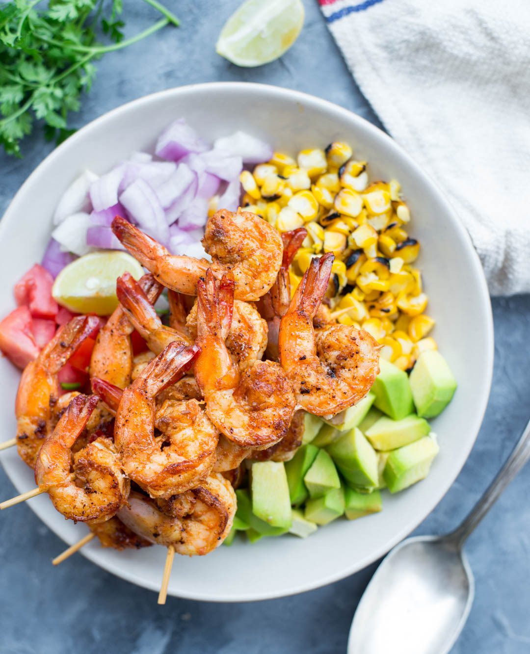 Shrimp And Corn Salad  GRILLED SHRIMP WITH CORN AVOCADO SALAD The flavours of