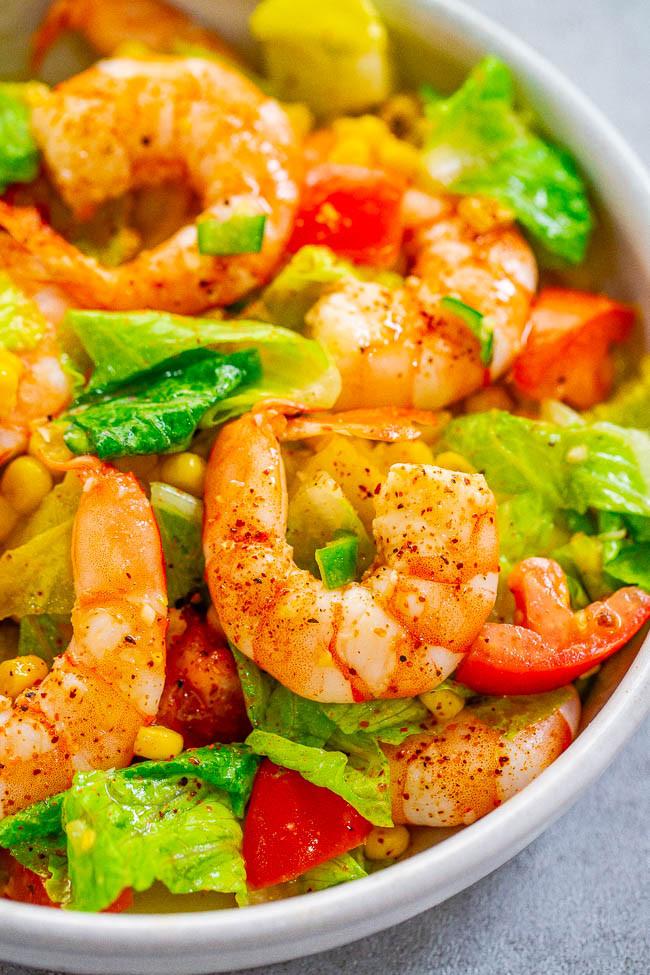 Shrimp And Corn Salad  Honey Lemon Shrimp and Corn Salad Averie Cooks