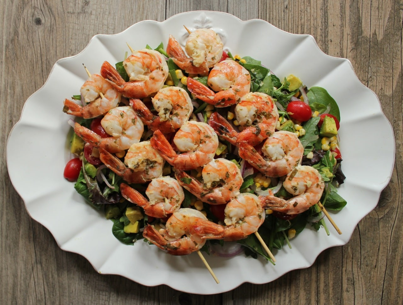 Shrimp And Corn Salad  Summer Salad with Avocado Corn and Grilled Herb Shrimp