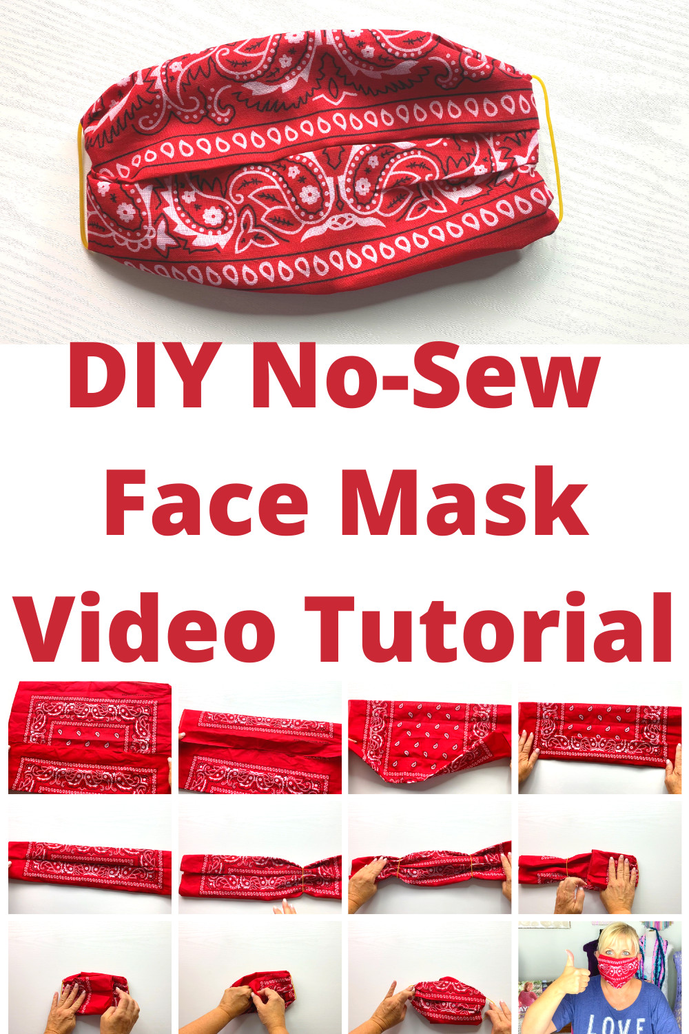 Simple DIY Face Masks  Easy No Sew DIY Face Mask with Bandana and Elastic Bands