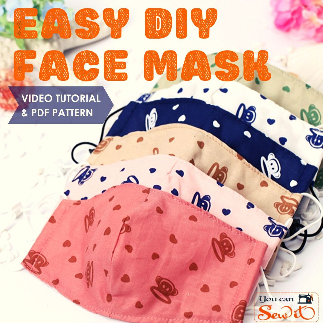 Simple DIY Face Masks  Sew a medical style pleated face mask tutorial & pattern
