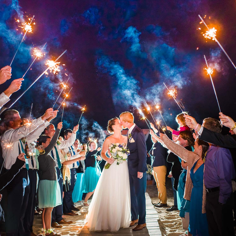 Sparkler Wedding Photos  Massachusetts Seaside wedding