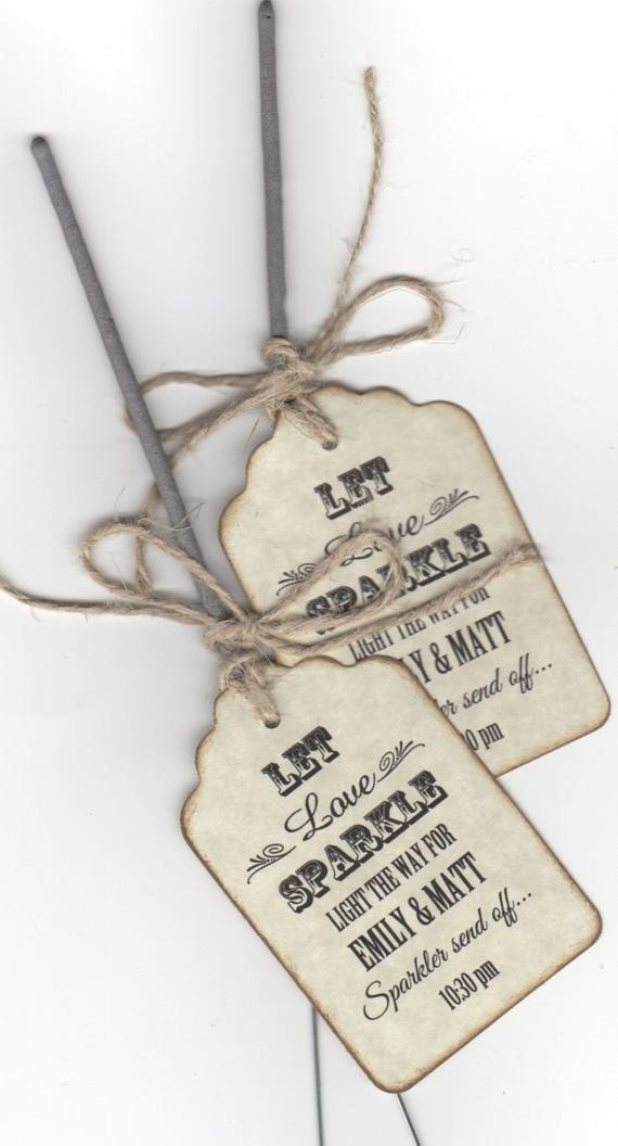 Sparklers Wedding Favors  Items similar to 50 Rustic Sparkler Wedding Favor Tags