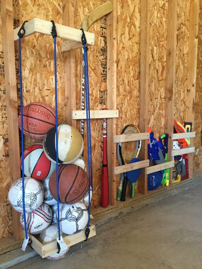 Sports Organizer For Garage  Easy DIY Garage Sports Storage Giveaway Pretty