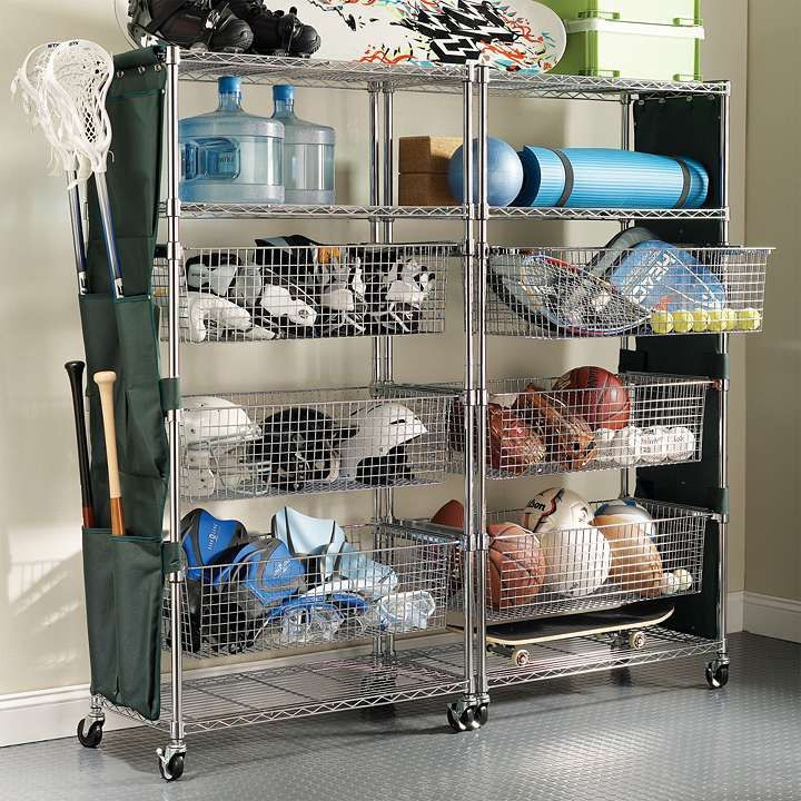 Sports Organizer For Garage  Chrome finished Tower Shelving