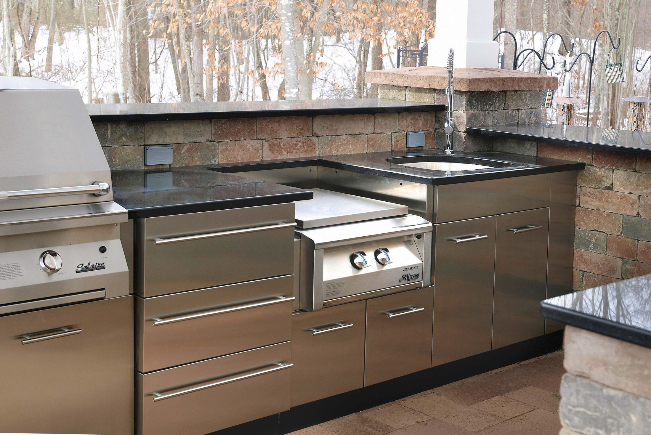 Stainless Outdoor Kitchen  Outdoor Stainless Kitchen in winter in CT