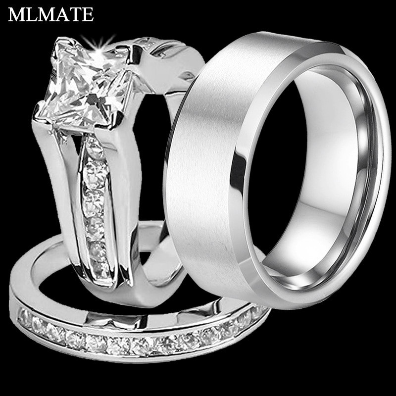 Stainless Steel Cubic Zirconia Wedding Ring Sets  Princess Cut Cubic Zirconia Couples Rings Stainless Steel