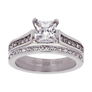 Stainless Steel Cubic Zirconia Wedding Ring Sets  sparkle jewelry Women s Stainless Steel Princess Cut Cubic