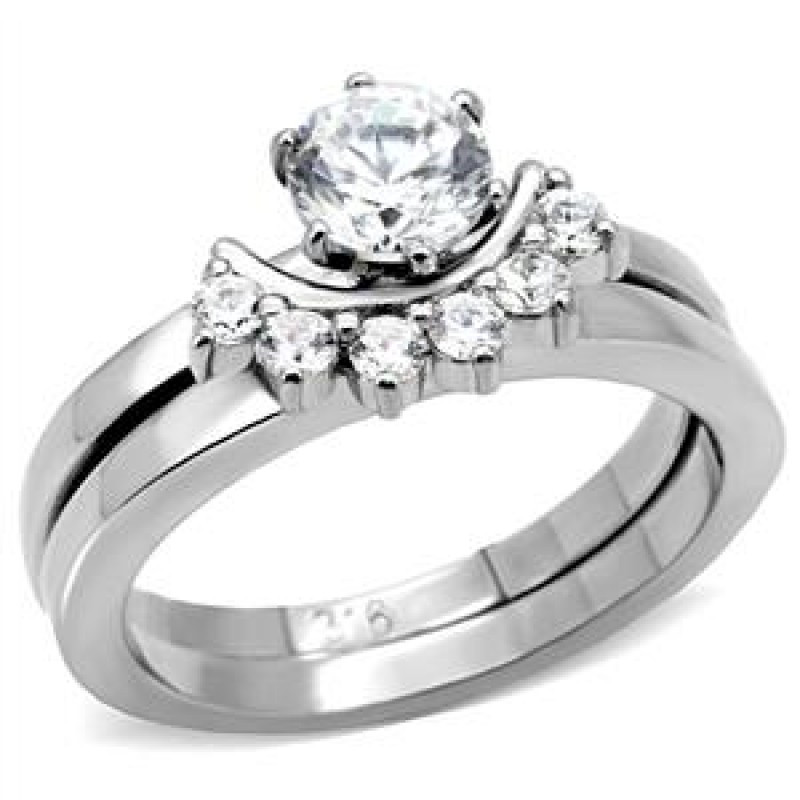 Stainless Steel Cubic Zirconia Wedding Ring Sets  CJ7797OS Wholesale Stainless Steel Round Cubic Zirconia