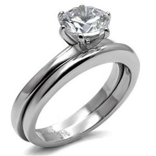 Stainless Steel Cubic Zirconia Wedding Ring Sets  Stainless Steel Round Solitaire Cubic Zirconia Engagement