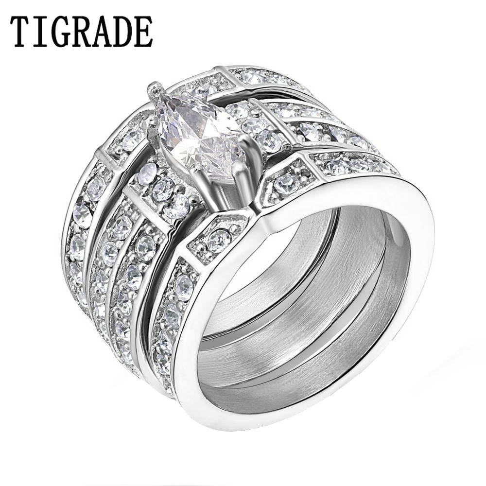 Stainless Steel Cubic Zirconia Wedding Ring Sets  TIGRADE Silver Stainless Steel Marquise Cubic Zirconia