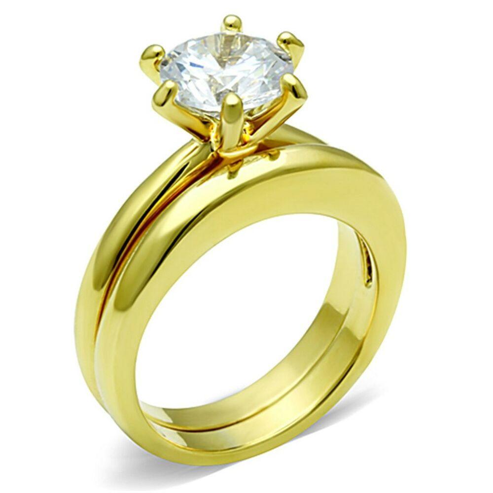 Stainless Steel Cubic Zirconia Wedding Ring Sets  1 3Ct Round Cubic Zirconia Gold IP Stainless Steel Wedding