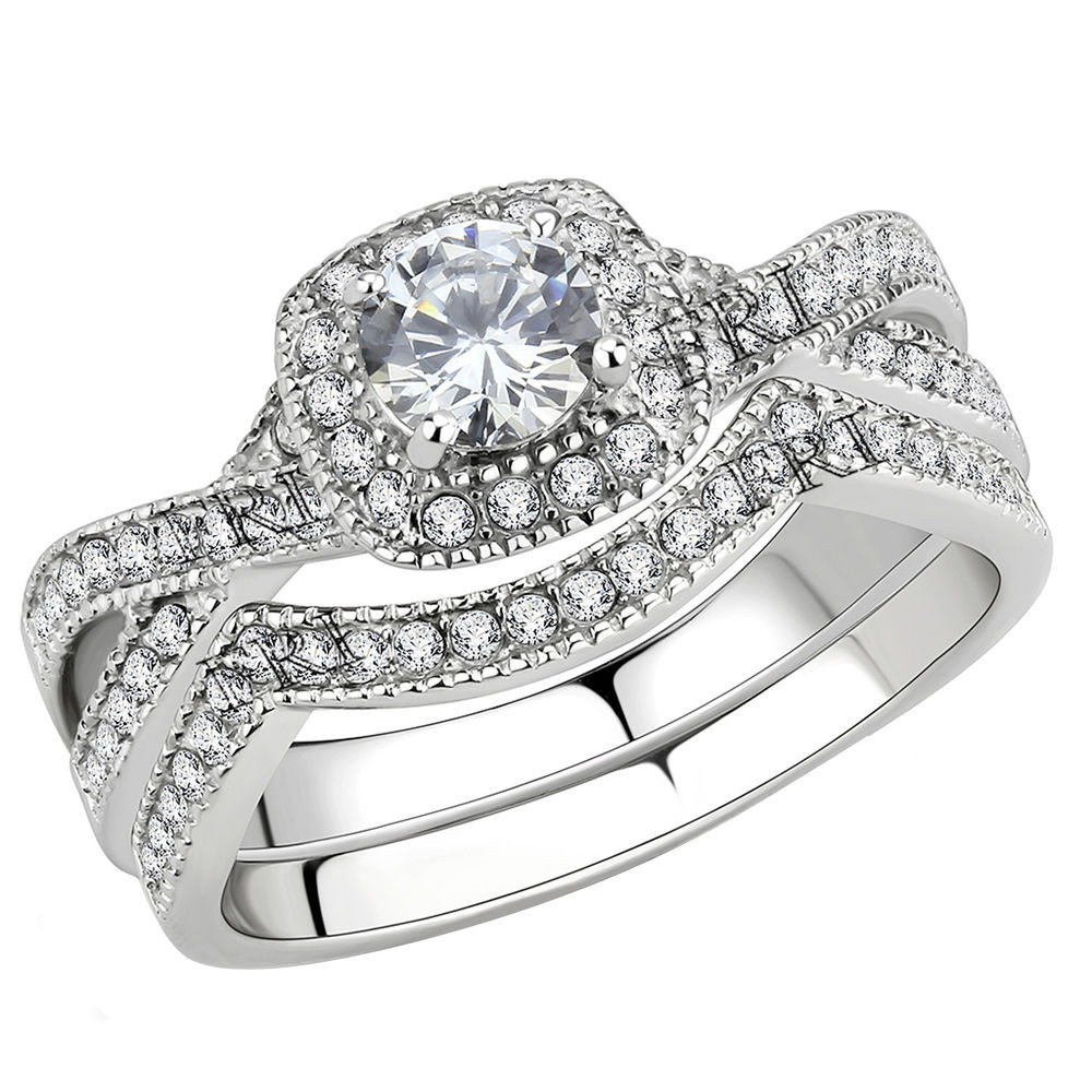 Stainless Steel Cubic Zirconia Wedding Ring Sets  Stainless Steel Women s Infinity Wedding Ring Set Halo