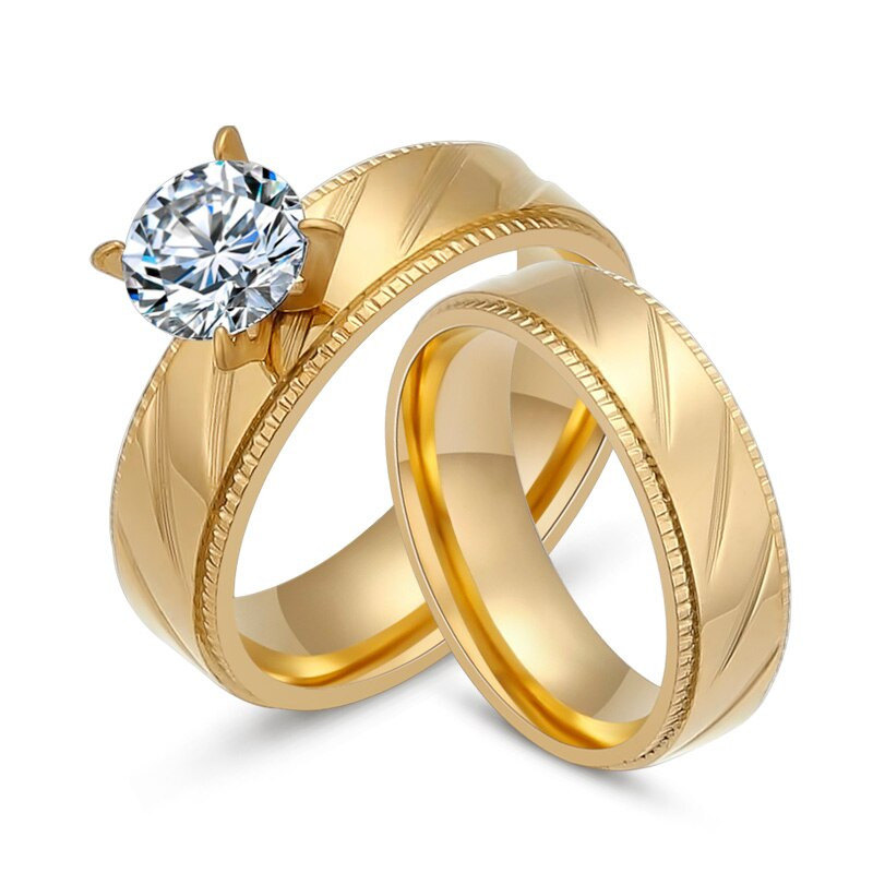 Stainless Steel Cubic Zirconia Wedding Ring Sets  2Pcs Set Stainless Steel Wedding Rings For Women Gold