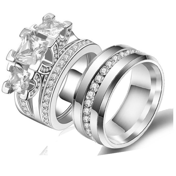 Stainless Steel Cubic Zirconia Wedding Ring Sets  Best Selling Princess Cut Cubic Zirconia Couple Rings