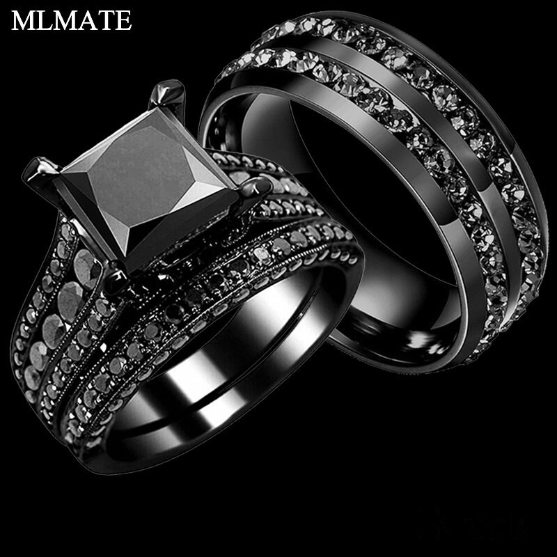 Stainless Steel Cubic Zirconia Wedding Ring Sets  His Her Couple Rings Black 316L Stainless Steel Princess