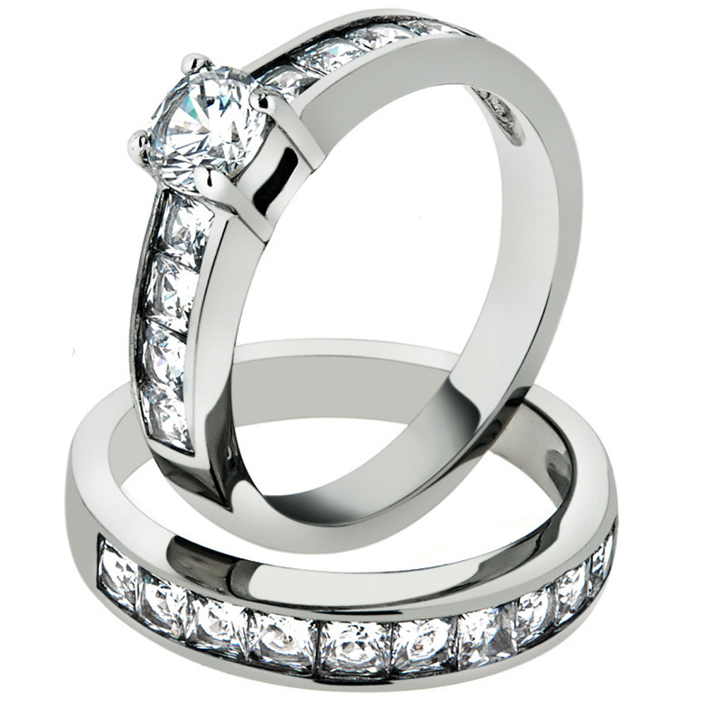 Stainless Steel Cubic Zirconia Wedding Ring Sets  ARTK1321 Stainless Steel 316l 3 25 Ct Cubic Zirconia