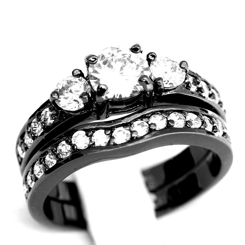 Stainless Steel Cubic Zirconia Wedding Ring Sets  Engagement Wedding Band Rings Set Black Stainless Steel