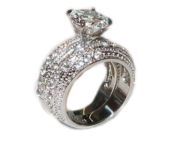 Stainless Steel Cubic Zirconia Wedding Ring Sets  3 20 Ct Cubic Zirconia Cz Wedding Band Ring Set Stainless