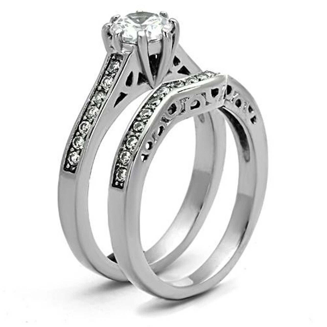 Stainless Steel Cubic Zirconia Wedding Ring Sets  ARTK1330 Stainless Steel 316l 1 85 Ct Cubic Zirconia