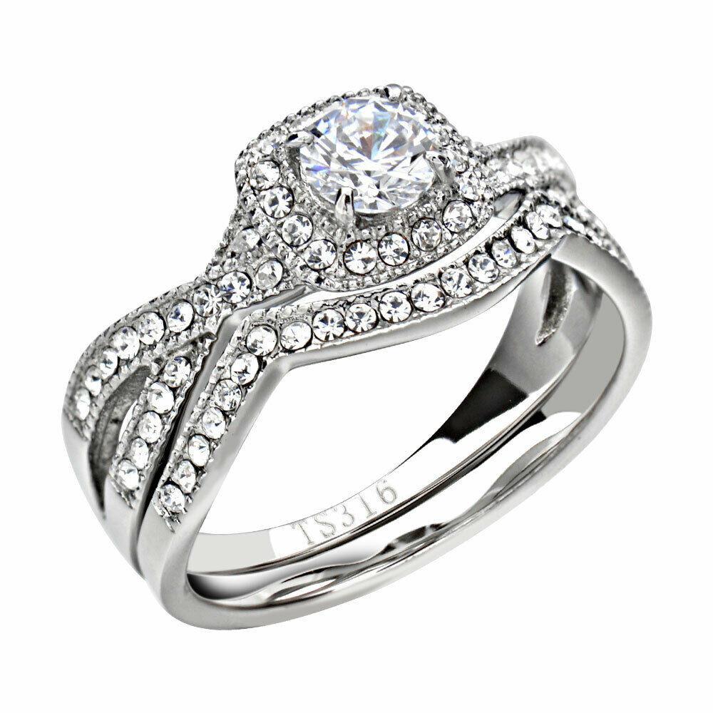 Stainless Steel Cubic Zirconia Wedding Ring Sets  Stainless Steel Clear Round Cubic Zirconia Jewelry Women
