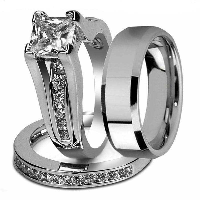 Stainless Steel Cubic Zirconia Wedding Ring Sets  Princess Cut Cubic Zirconia Couple Rings Stainless Steel