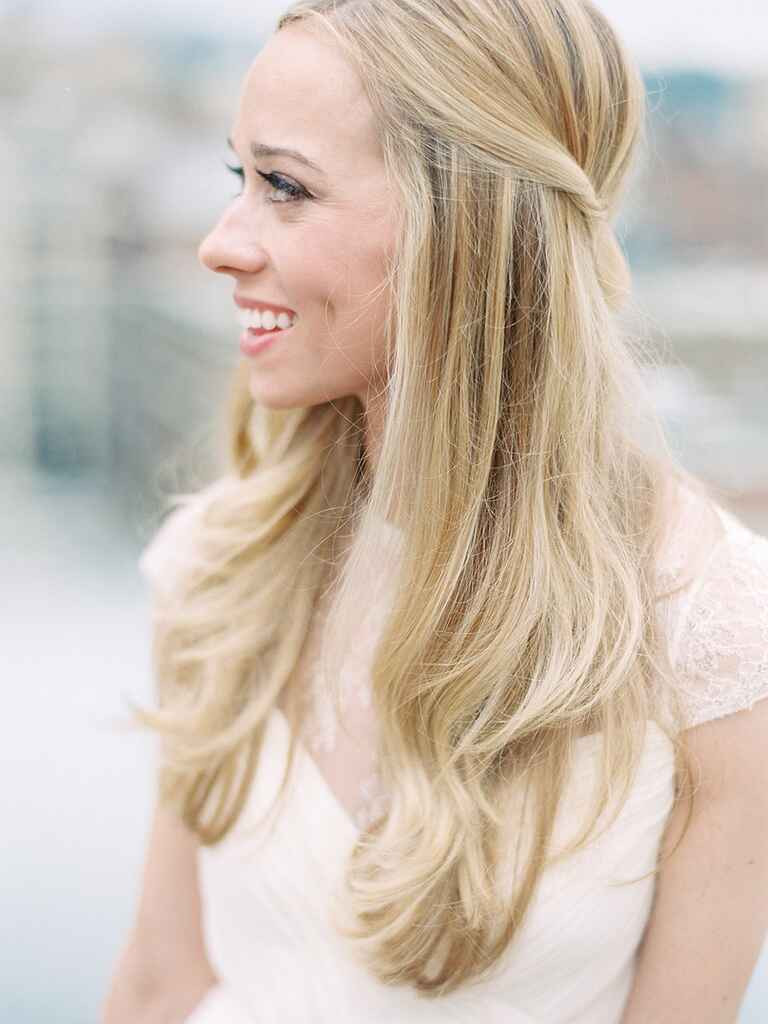 Straight Hairstyles For Weddings  Half Up Wedding Hairstyle Ideas With Curls Flowers and Braids