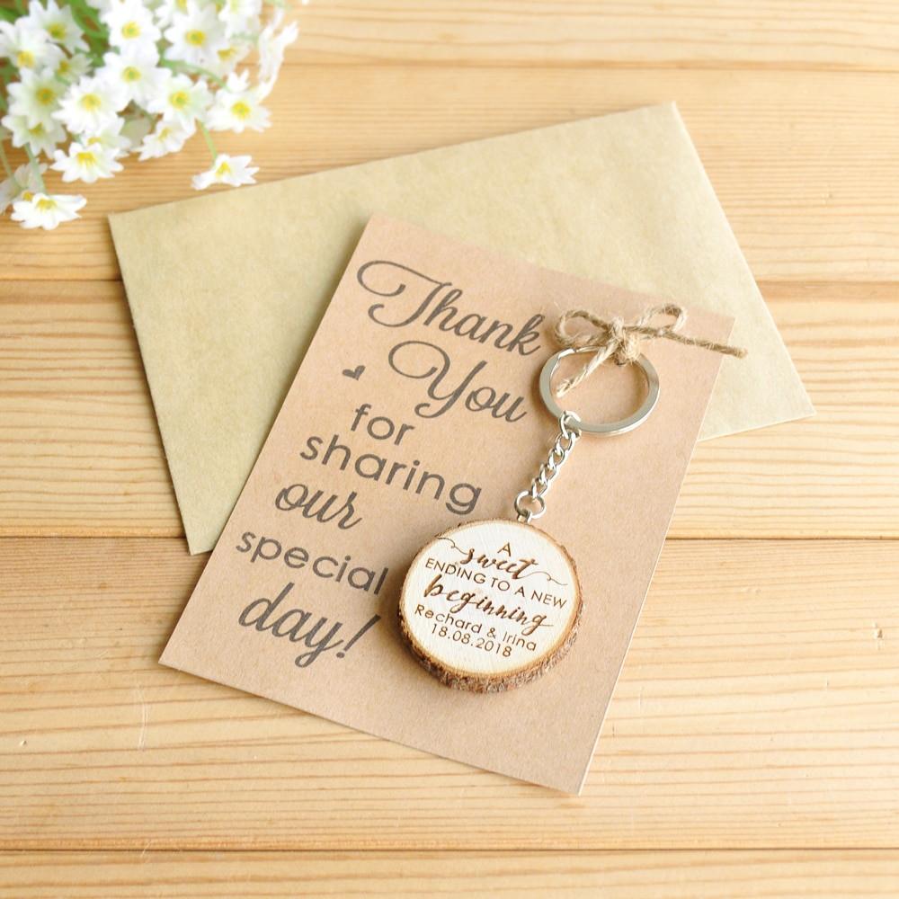 Thank You Wedding Gift Ideas  Personalized Wooden Keychain Key Ring Custom Wedding