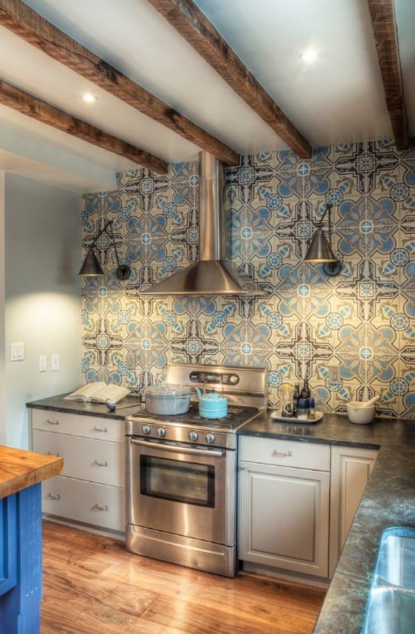 Tile Backsplash Kitchen  Create a decorative kitchen backsplash with cement tiles