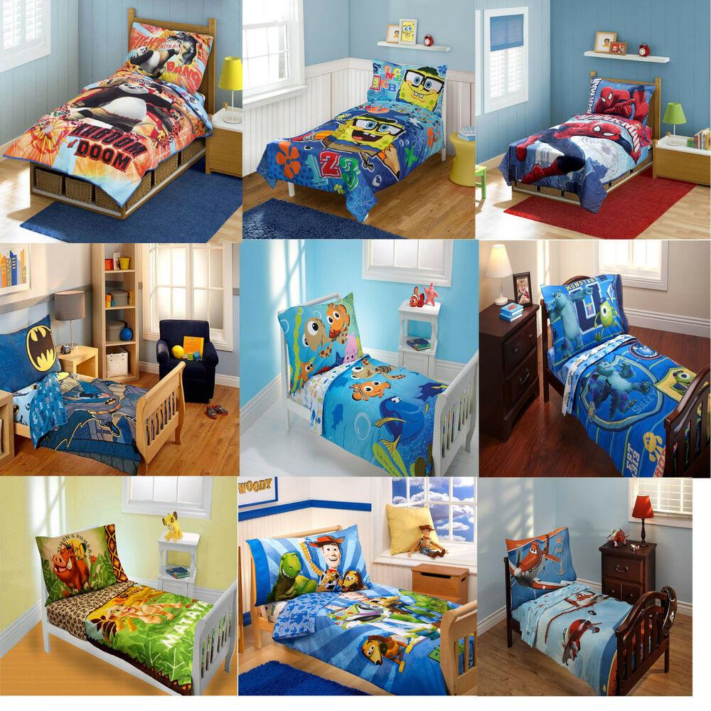 Toddler Bedroom Set For Boys  4pc Kids Toddler Size Bedding Set Childrens Boys Disney