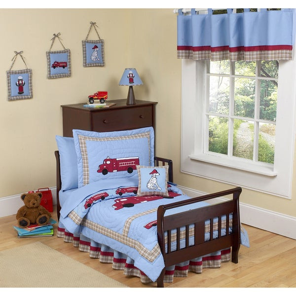 Toddler Bedroom Set For Boys  Shop Sweet JoJo Designs Frankie s Firetruck 5 piece