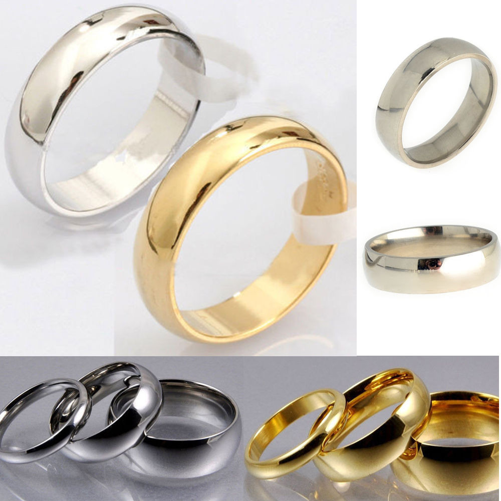 Traditional Wedding Bands  New Mens Women Gold Silver Stainless Steel Classic