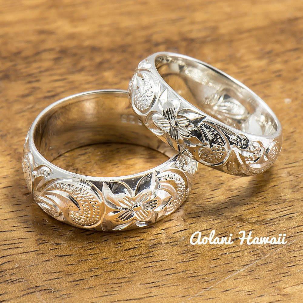 Traditional Wedding Bands  Silver Wedding Ring Set of Traditional Hawaiian Hand