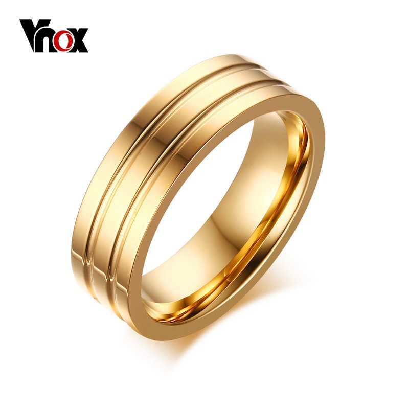 Traditional Wedding Bands  Vnox 6mm Engagement Rings High Polished fort Fit