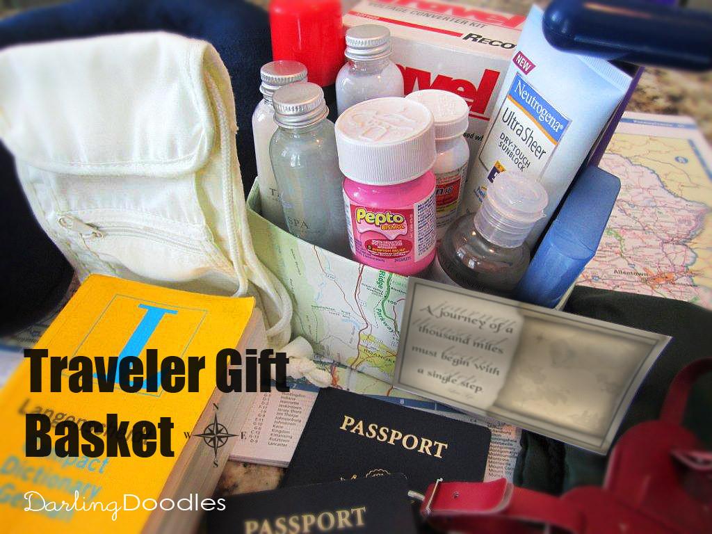 Travel Gift Basket Ideas  Travel Gift Basket Darling Doodles