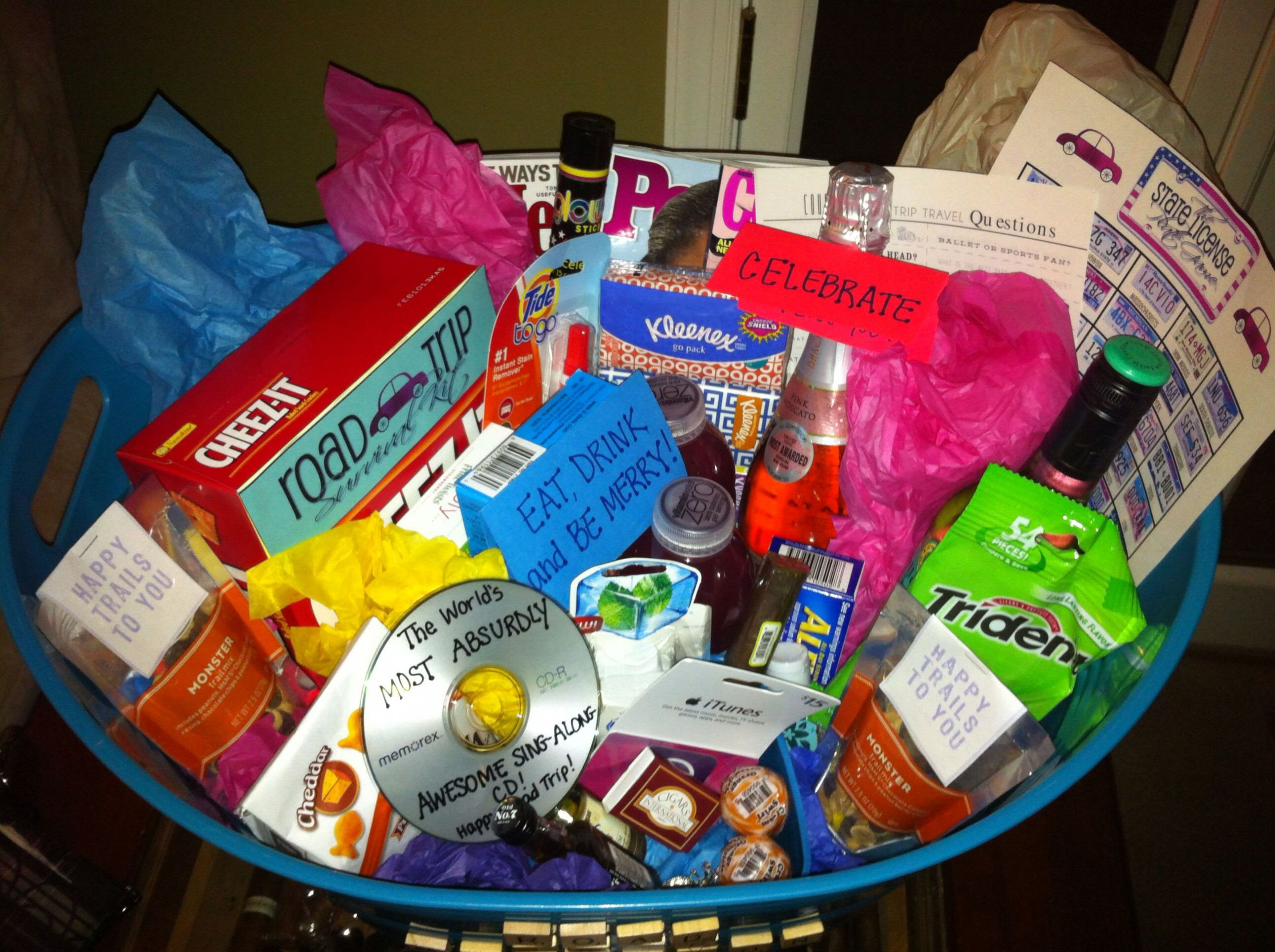 Travel Gift Basket Ideas  Road trip Gift Basket With images