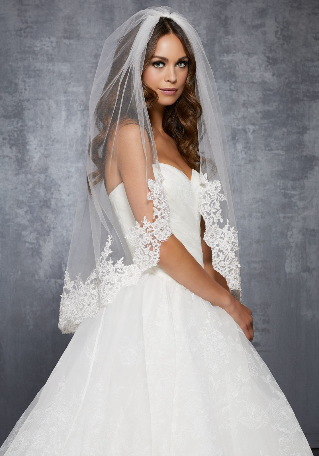 Uk Wedding Veils  Veil with Lace Beaded with Sequins and Rhinestones