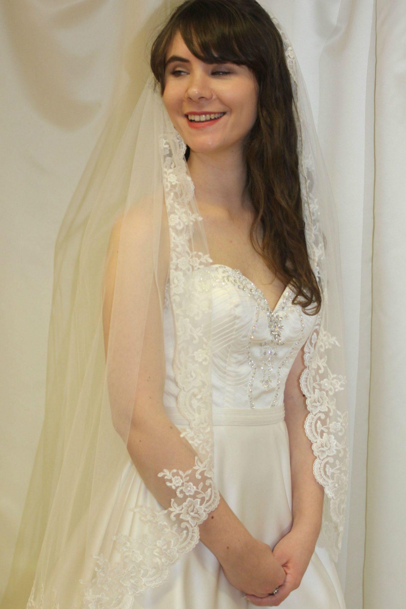 Uk Wedding Veils  Waist Length Full lace edged Wedding Veil