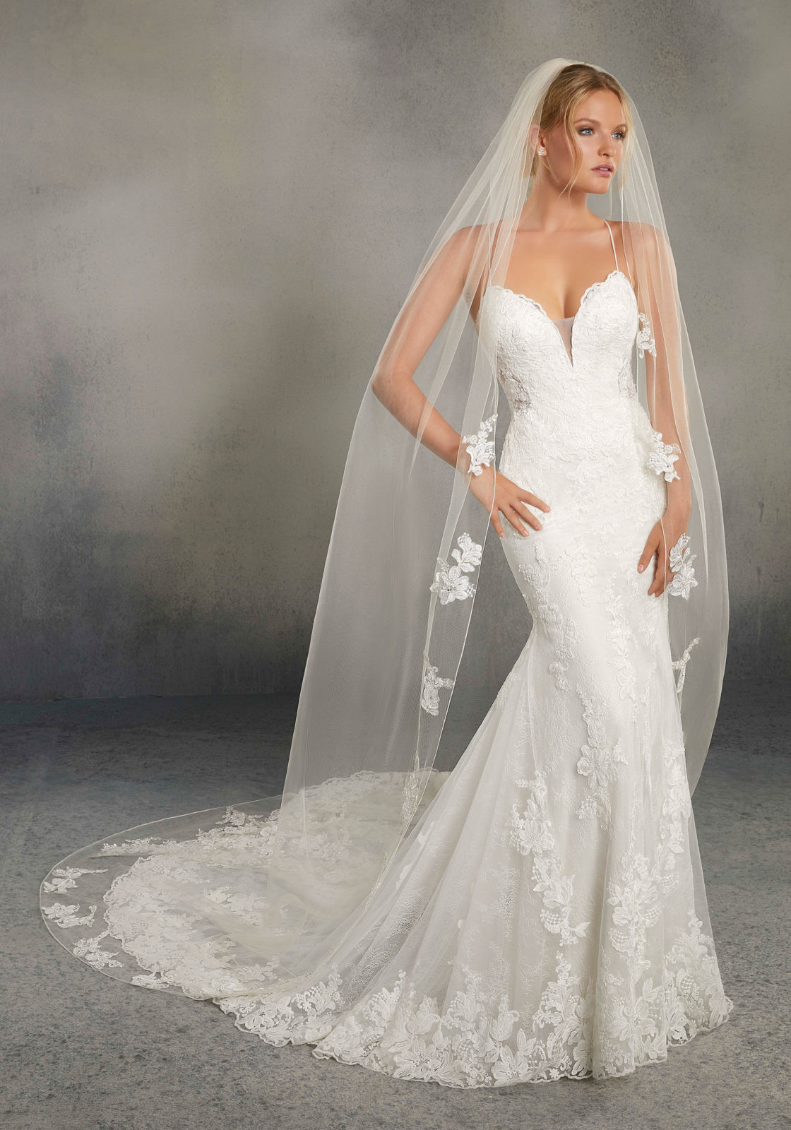 Uk Wedding Veils  Veil Edged with Pearl and Rhinestone Beaded Lace