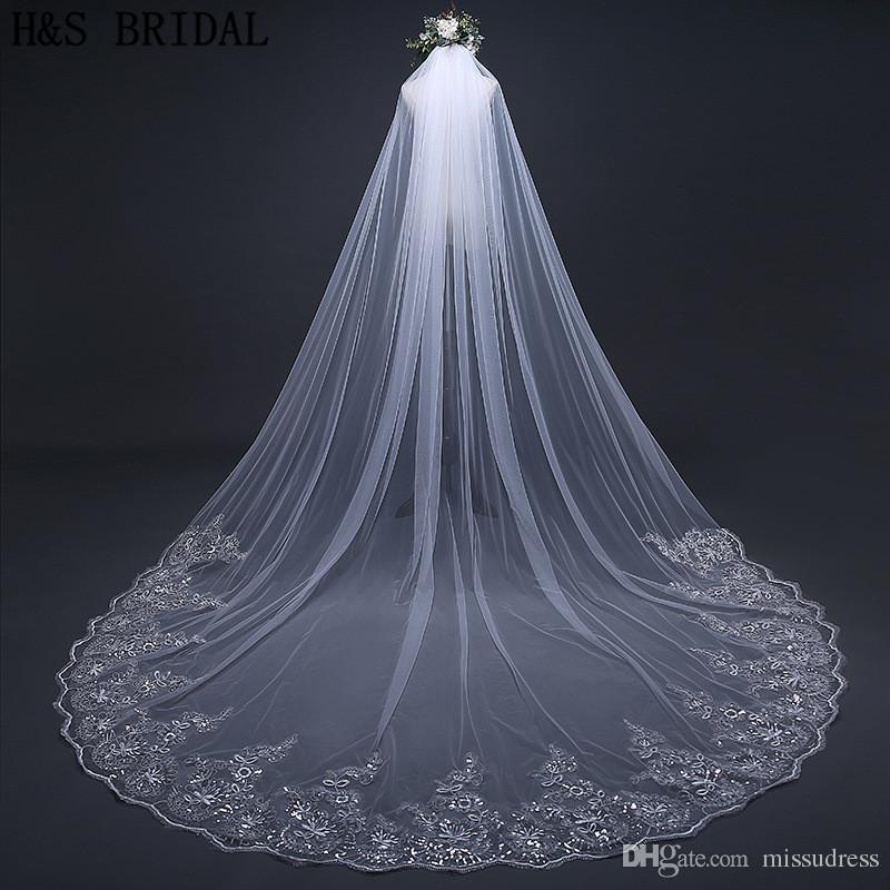 Uk Wedding Veils  Crystals Wedding Veils Beaded Long 1 Layer Cathedral Lace