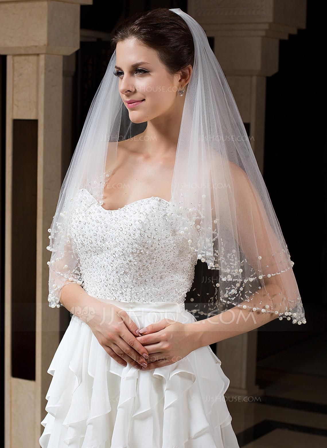 Uk Wedding Veils  Two tier Beaded Edge Elbow Bridal Veils With Beading