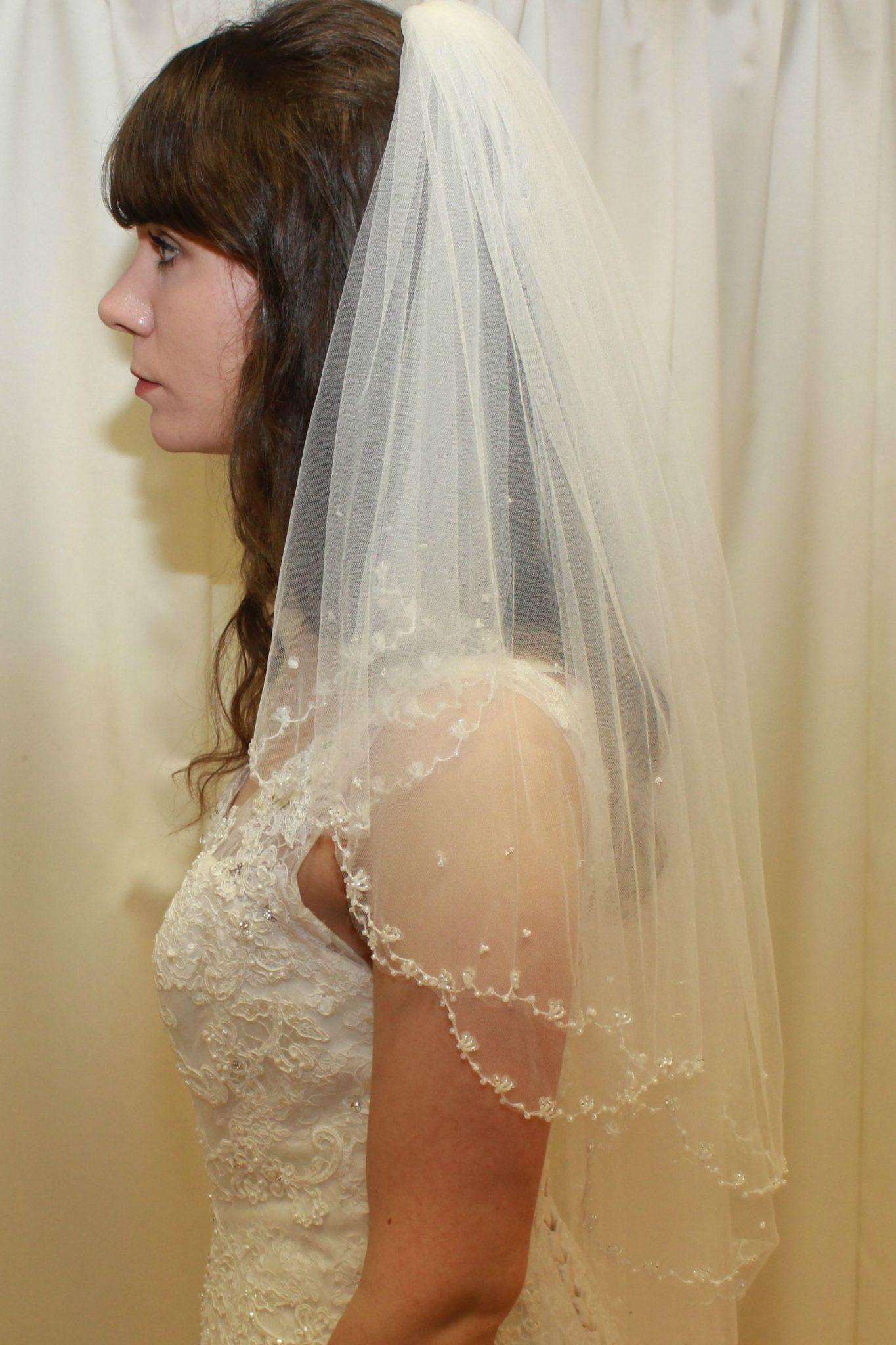 Uk Wedding Veils  Beaded Edge Two Tier Tulle Wedding Veil