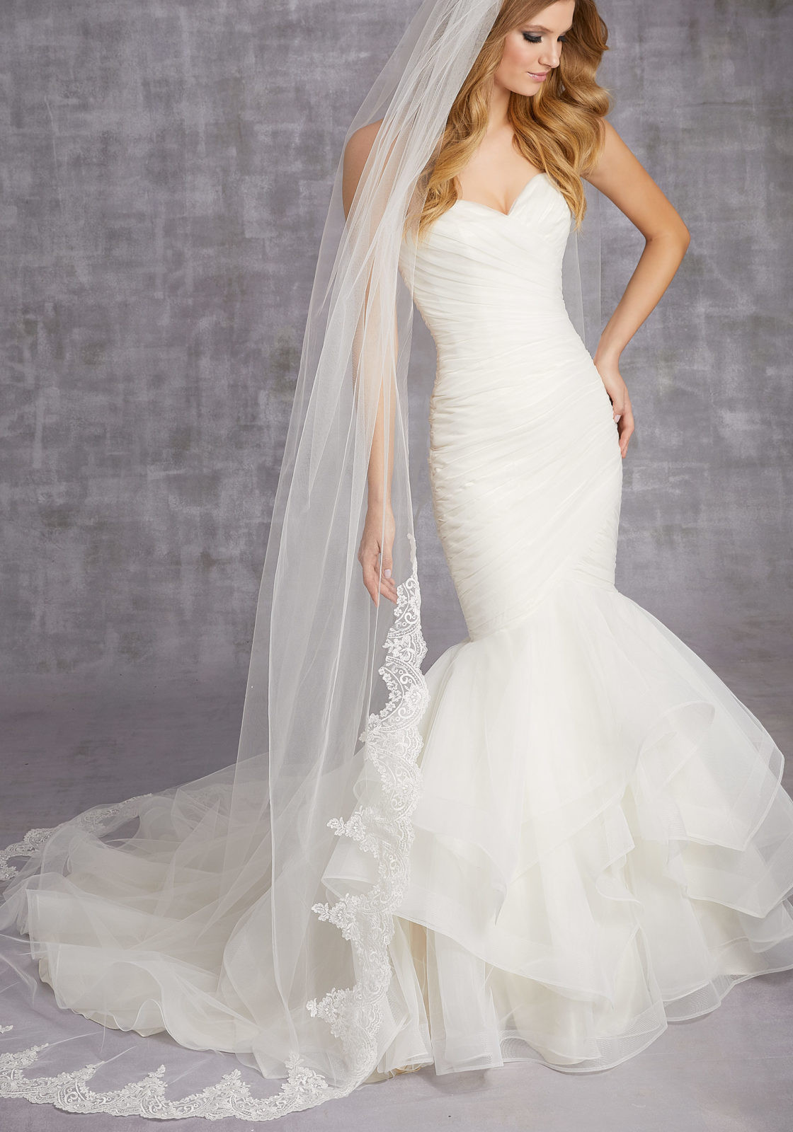 Uk Wedding Veils  Scalloped Lace Veil Beaded With Clear Sequins