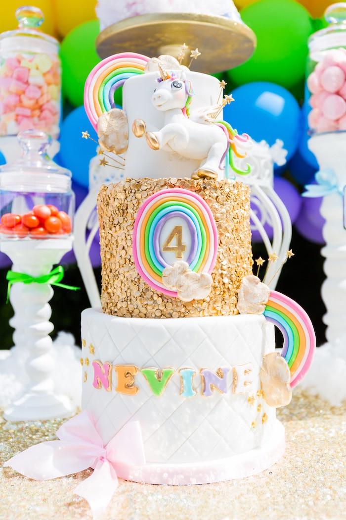 Unicorn And Rainbow Party Ideas  Kara s Party Ideas Gold Rainbow Unicorn Birthday Party