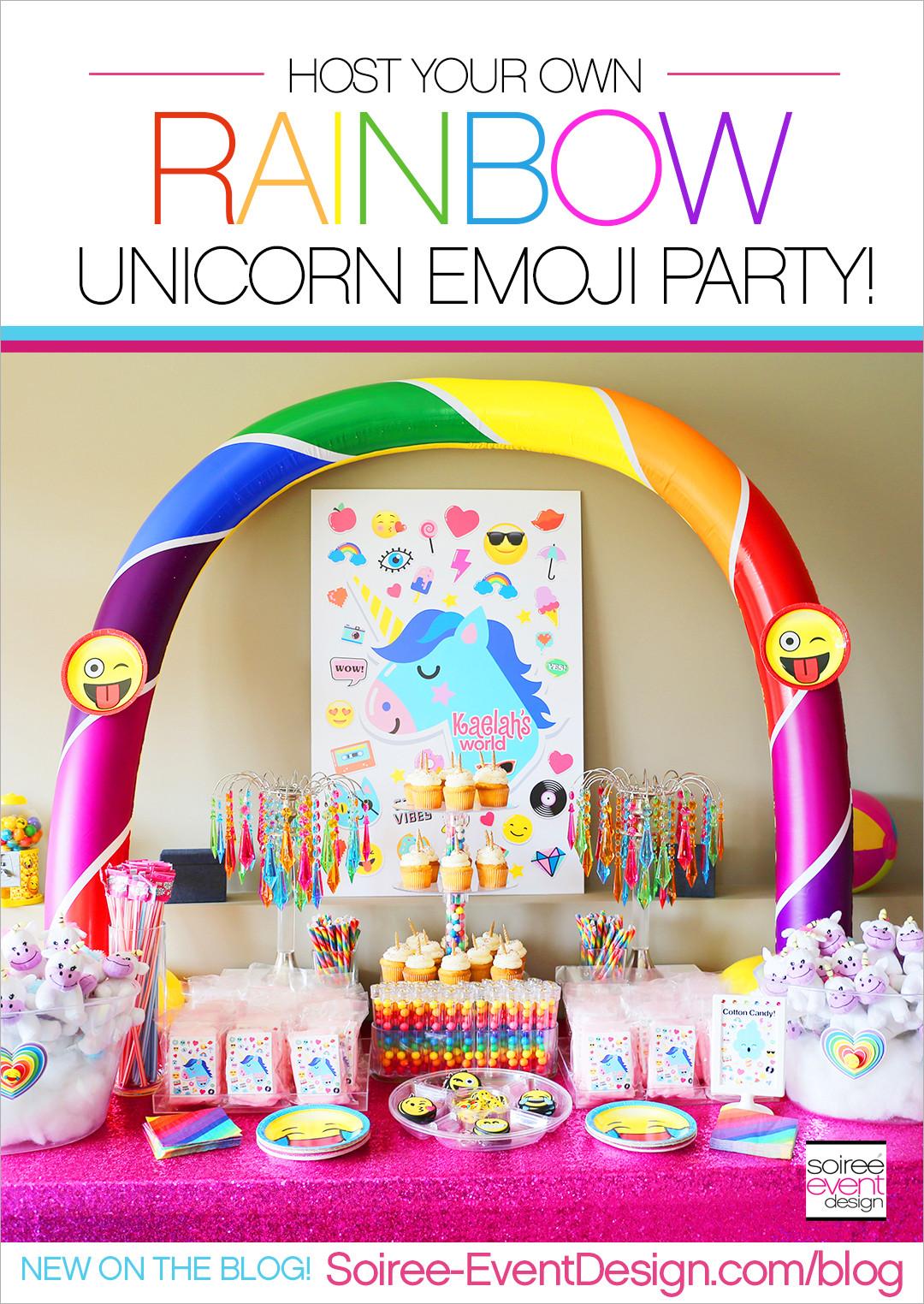 Unicorn And Rainbow Party Ideas  Rainbow Unicorn Emoji Party Ideas Soiree Event Design