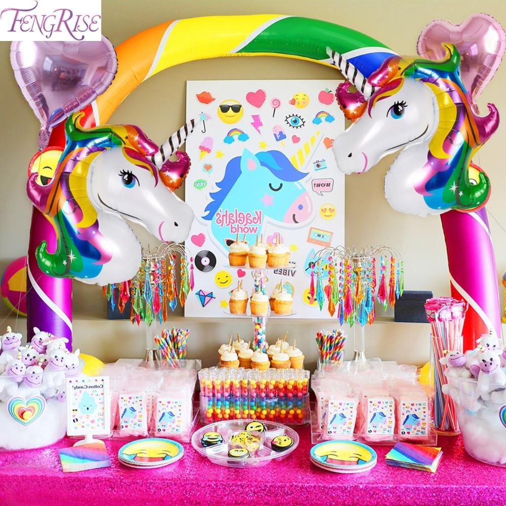 Unicorn And Rainbow Party Ideas  FENGRISE Rainbow Unicorn Party Decoration Aluminum Star